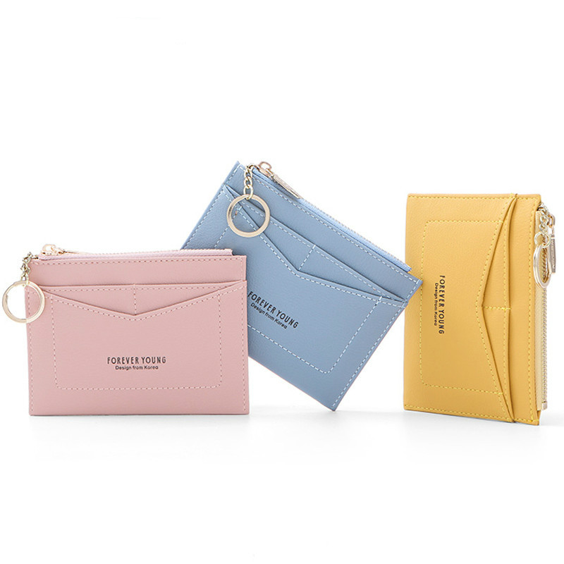 2020 Slim Keychain Card Holder Women Leather Bag Small Card Wallets Female Organizer Mini Credit Card Case Zipper Coin Bags