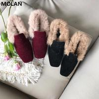 MOLAN Designers 2019 Winter Real Fur Mules Women Lazy Shoes Loafers Comfort Pregnant Shoes Women Furry Slides Flip Flops 35 40