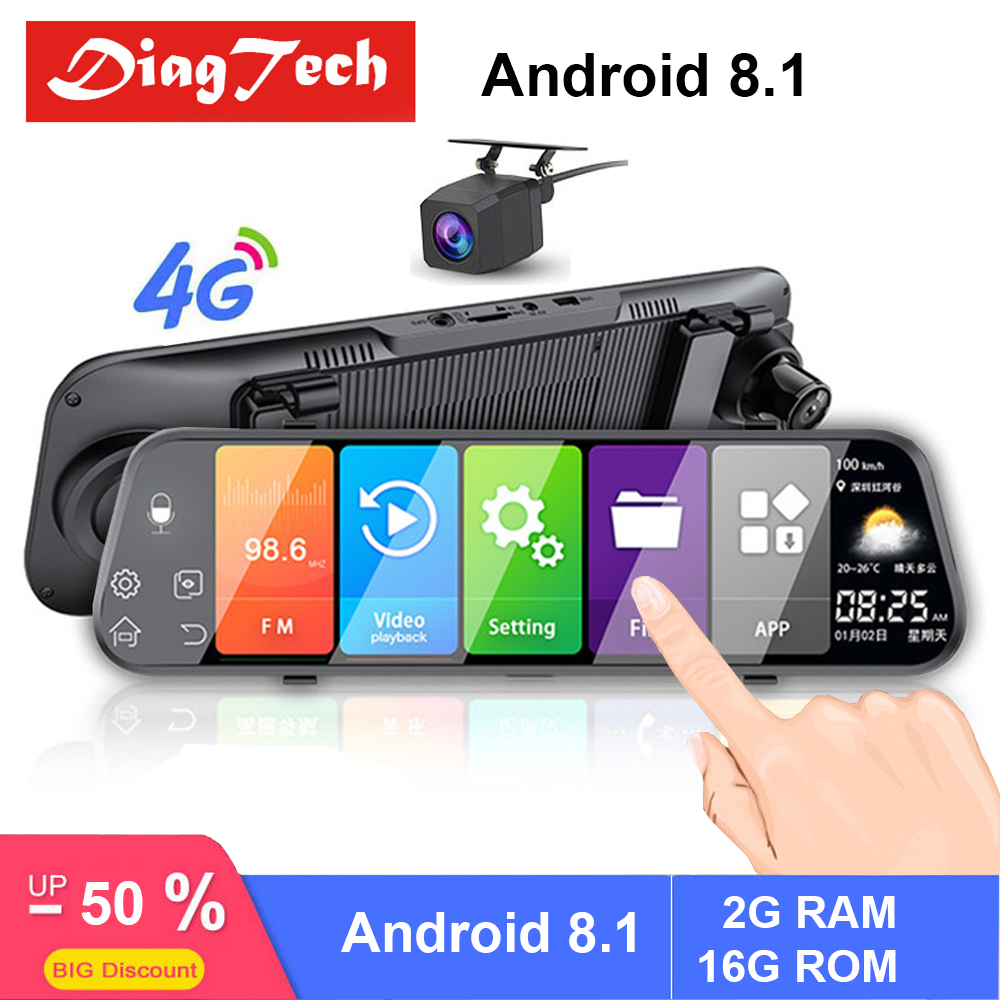 10'' GPS Car DVR Mirror Auto Recorder FHD 1080P Android 8.1 Car Rear View Mirror Night Vision Rearview Mirror Car Mirror Video