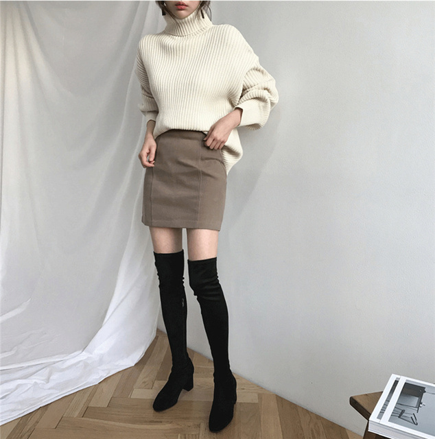 Ailegogo New 2020 Women Pullovers Sweater Knitted Autumn Winter Thick Warm Turtleneck Lantern Sleeve Casual  Loose Tops 4