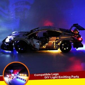 Image 4 - DIY Langlebige LED Licht Beleuchtung Kit RSR Ziegel Spielzeug Glowing Baustein Lichter Für Lego 42096 Technik Porsche 911 RSR ziegel