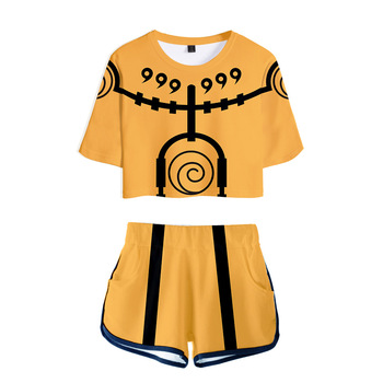 Trendy explosion 3D ladies suit Naruto 3D printing sexy suit Fashion women's casual suit T-shirt+shorts Naruto suit