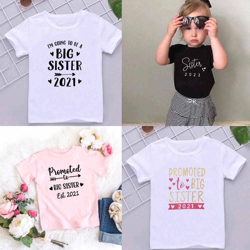 Детская футболка с коротким рукавом, летняя белая футболка с буквенным принтом для старшей сестры, 2021