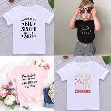 Crianças tshirt verão moda crianças tshirt manga curta branco t camisa topos promovido a irmã mais velha 2021 carta imprimir roupas dos miúdos