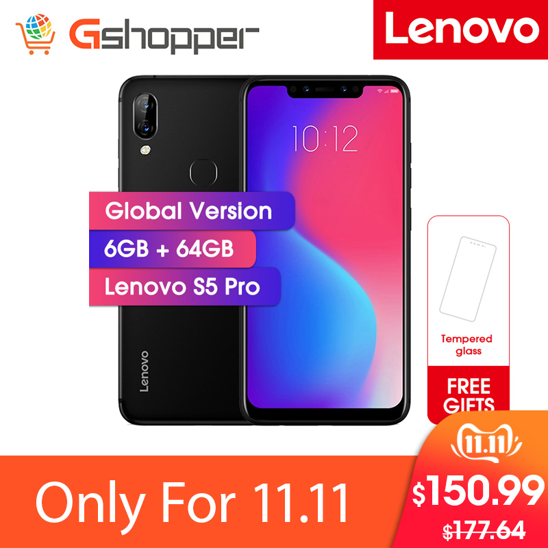 Lenovo S5 Pro 6G 64G Global Version 20.0MP Rear Camera Snapdragon 636 Octa Core 1.8GHz 3500mAh Battery Face ID Mobile phone-in Cellphones from Cellphones & Telecommunications