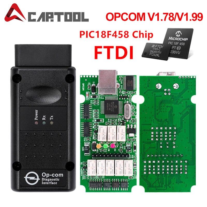Opcom ferramenta de diagnóstico automotivo, para opel v1.59/v1,7/v1.78/v1.99 com pic18f458 ftdi op-com obd2 o scanner do obd da interface do ônibus do op com