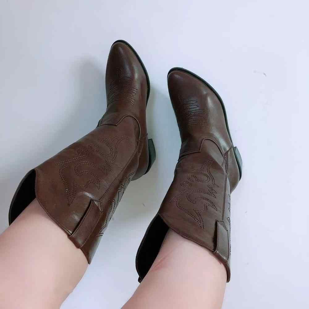 2019 dedo do pé apontado ocidental cowgirl botas inverno quente botas de cowboy sapatos femininos meados de bezerro cossacos femal sapatos botas mujer