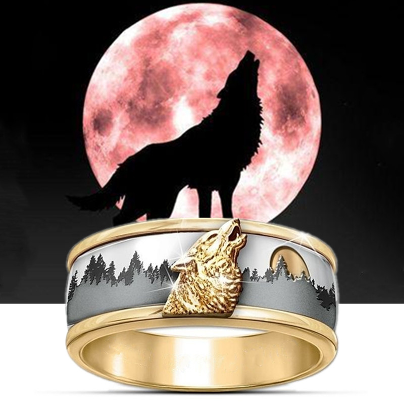 FDLK 2020 Hot Sale Two Tone Gold & Silver Call of the Wild Viking Wolf Ring Fashion Mens Band Jewelry(China)