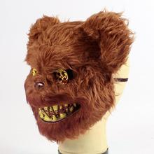 Halloween Bloody Teddy Bear Mask Masquerade Scary Plush Mask Halloween Creepy Halloween Decoration Supplies Scary Props Mask