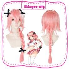 Ebingoo игра Fate apocriph Astolfo Косплей парики длинный Плетеный Розовый Синтетический парик для Хэллоуина Косплей парик+ 3 Черная Шпилька-бант