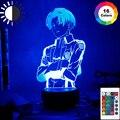 Акриловая настольная лампа, аниме атака на титанов, для домашнего декора, освещение, классная фотовспышка, капитан, Леви, тройной ночник