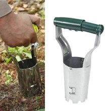 Sadzarka do przesadzania sadzarka do gięcia darmowe narzędzie do sadzenia żarówek automatyczne uwalnianie gleby do kopania napełnianie głębokości otworu Marker tanie tanio CN (pochodzenie) Z tworzywa sztucznego Bulb Planter Grass Plugger Tool Transplanter 22x13x6cm