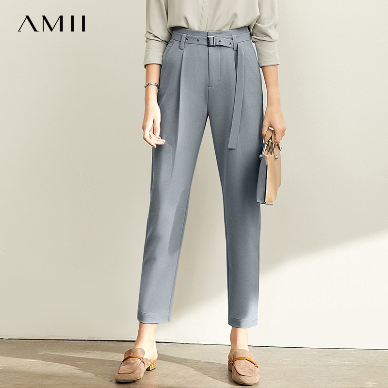 Amii  Commuter Trousers 2019 Autumn New Belt Pipe Pants High Waist Casual Pants  11920174