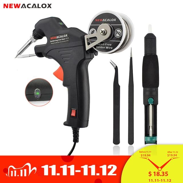 NEWACALOX 50W EU/USไฟฟ้าชุดSolderingเหล็กความร้อนภายในปืนมือถือโดยอัตโนมัติส่งดีบุกเชื่อมสถานีซ่อมเครื่องมือ