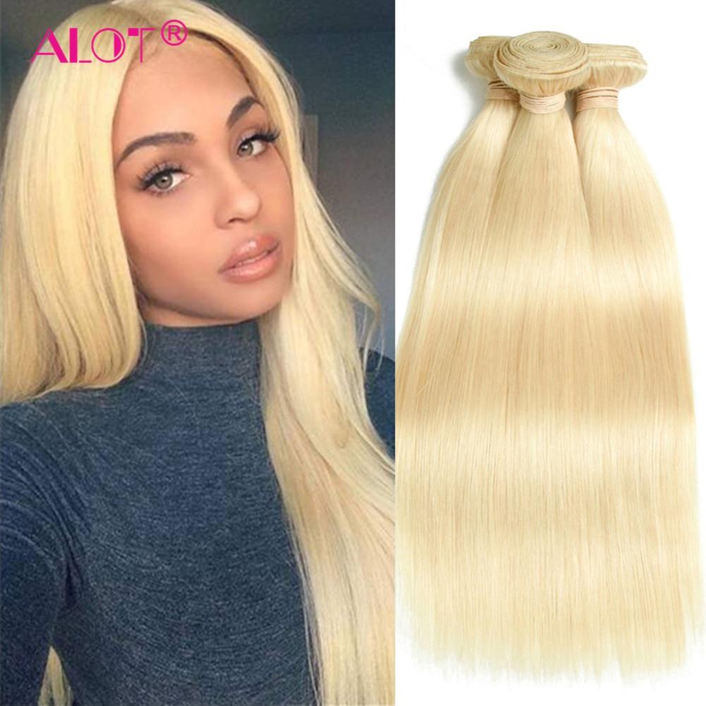 Cabelo humano brasileiro liso, 30 32 Polegada pacotes de cabelo 613 loiro ondulado pacotes de extensão de cabelo 100% humano remy