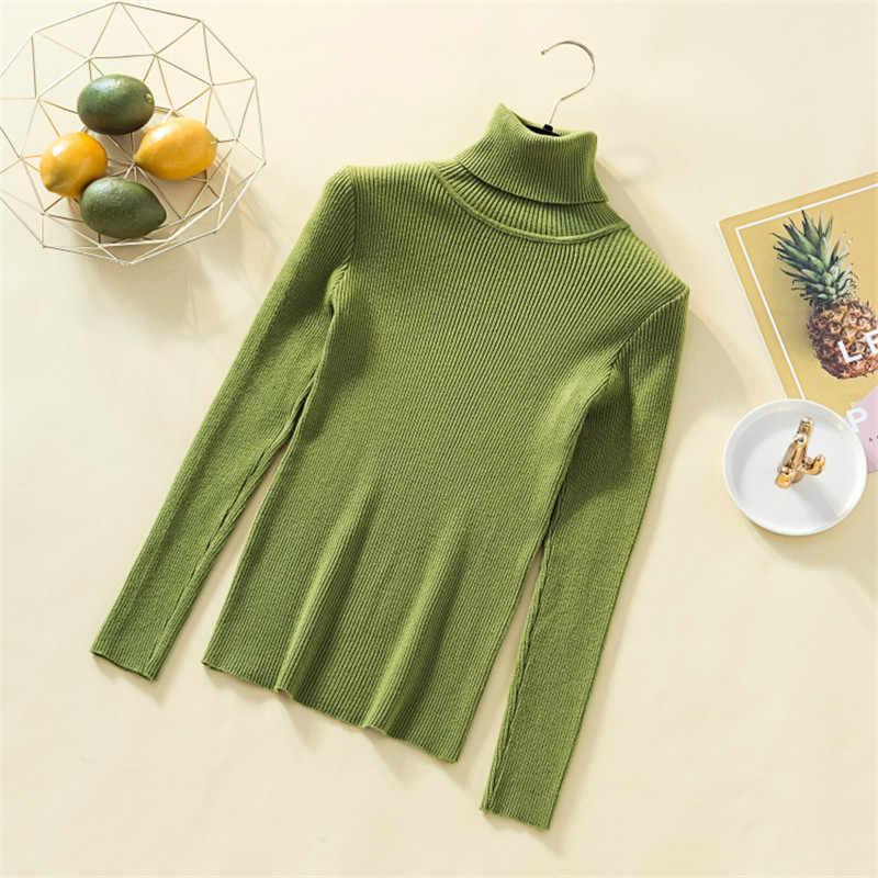 Suéter de cachemira de cuello alto suave para mujer Jersey sólido de punto de invierno para mujer jerseys básicos ajustados para mujer Pure Jumper