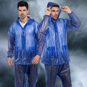 Blue Protective Raincoat Split Workwear Rain Pants Suit Outdoor Reusable Dust-proof Water-proof Dirt-proof Unisex Raincoats #N3