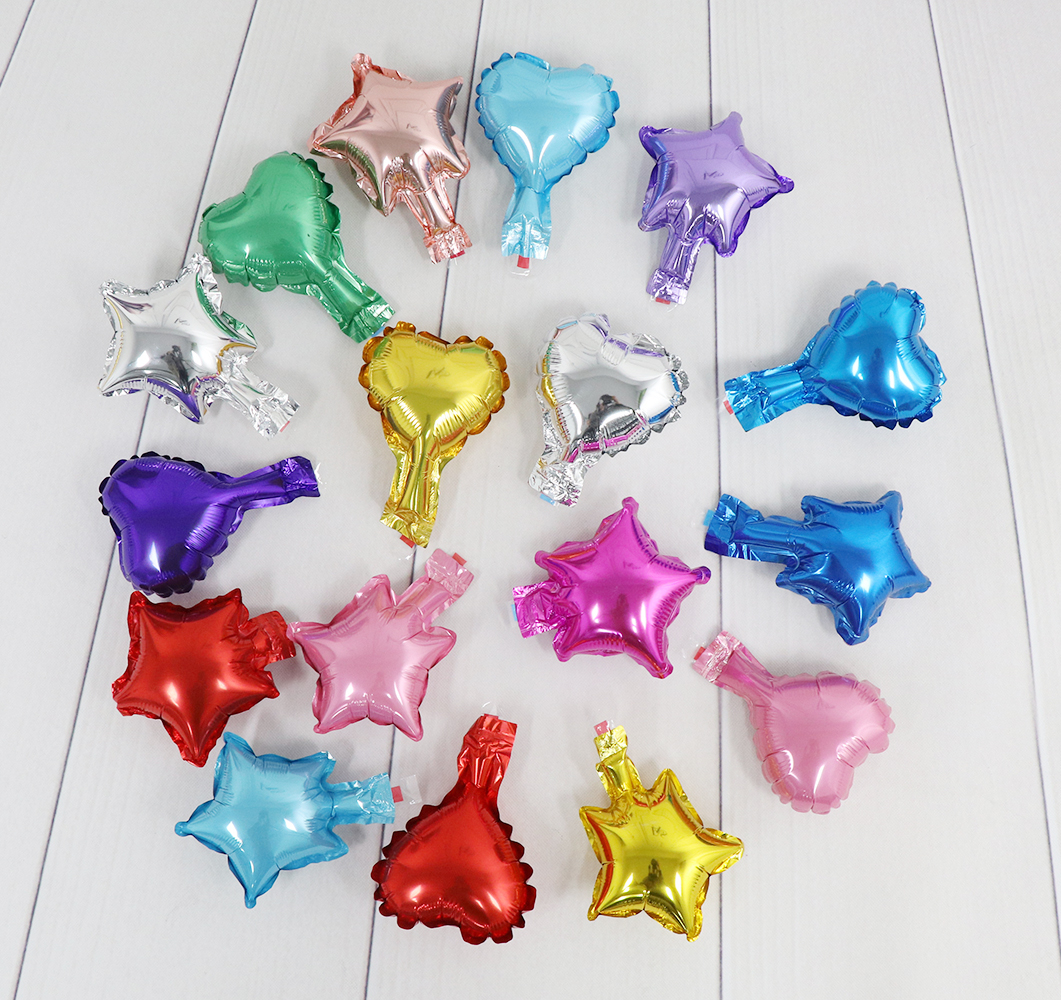 5inch Mini Mylar Foil Heart Star Balloons In Red Green Rose Gold Colors for Making Flowers Birthday Decorations Wedding Supplies