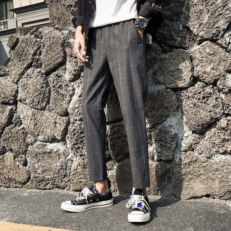YASUGUOJI New 2019 Autumn Korean Men Fashion Checked Trousers Casual Plaid Pants Men Slim Fit Straight Men's Cotton Chinos