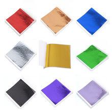 100 feuilles de papier artisanal, Imitation or argent, feuilles dorées colorées, dorure, décoration, 9x9cm