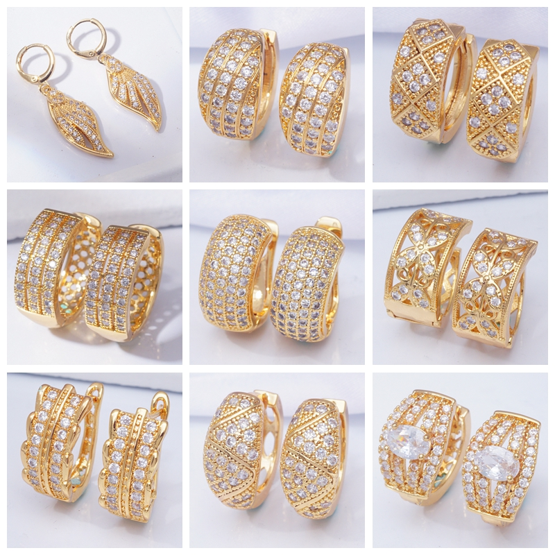 Indian Jewelry Luxury Designer Gold Earrings  AAA Cubic Zirconia Small Hoop Earrings for Women New 31 Different Styles