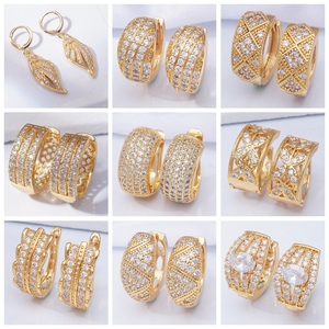 Indian Jewelry Luxury Designer Gold Earrings AAA Cubic Zirconia Small Hoop Earrings for Women New 31 Different Styles