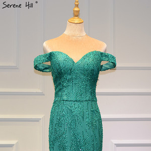 Image 2 - Green Off Shoulder Sexy Vintage Wedding Dresses 2020 Mermaid Sleeveless Sequined Bridal Gowns Real Photo BHM66614