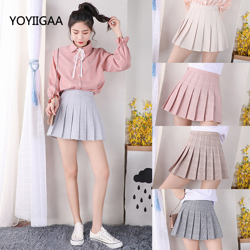 Summer Sweet Women Pleated Mini Skirt Casual Plaid Slim A-line Uniforms Preppy Style Girls Ladies Skirts Fashion Skirt For Women