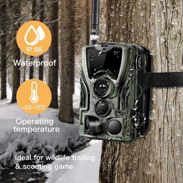 3G MMS Trail camera 0.3s Trigger Hunting camera 940nm IR LED photo traps 16mp 1080p HD night vision scout animal camera HC-801G 5