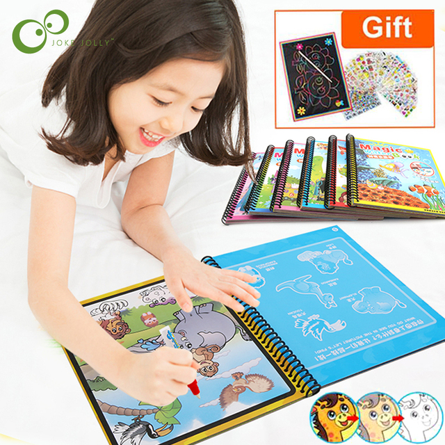 Magic Water Drawing Book Coloring Book Doodle Magic Pen Painting Drawing Board Kids Toys Birthday Christmas New Year Gift GYH 1