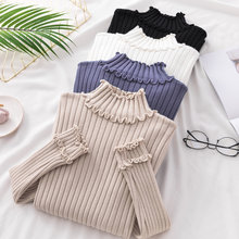 female girls lady Autumn winter new half high collar sweater women's wooden ear edge sweater long sleeve warm bottoming tops(China)