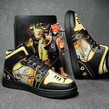 Klasik Anime ayakkabılar erkekler Hip Hop ayakkabı moda Clunky Sneakers erkekler için rahat ayakkabılar seyahat erkek koşu ayakkabıları yüksek Top Sasuke