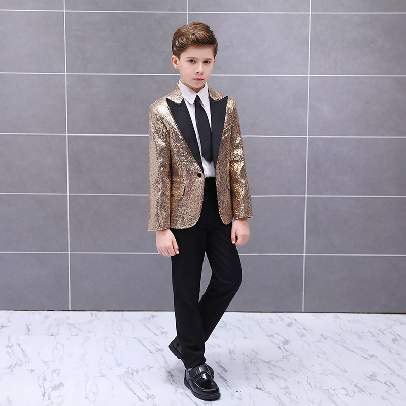 Handsome One Button Sequin Kid Complete Designer Boy Wedding Suit Boys' Attire Custom-made (Jacket+Pants+Tie) 01