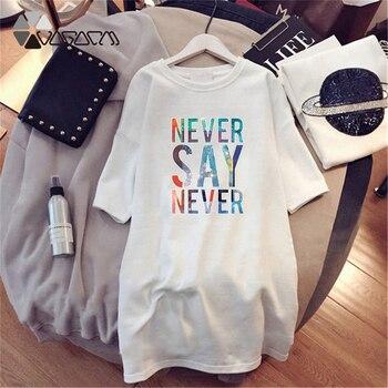 Women Dresses NEVER Series Letter Plus Size Black Mini Dress Loose Summer Long T Shirt Casual Clothes Femme Tops White Sukienka 156