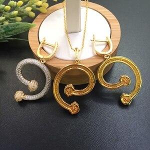 Image 3 - Lanyika Takı Sadelik Şekli Harfler Mikro kakma Kolye Küpe Ziyafet Lüks En Iyi Hediye