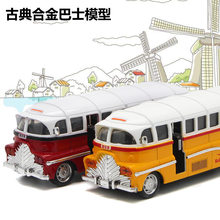 1:28 Classic Vintage Bus Tram Alloy Model Bus Car Model Light Music Pull Back Car Model Hot Speed Wheels Track Toy for Children(China)