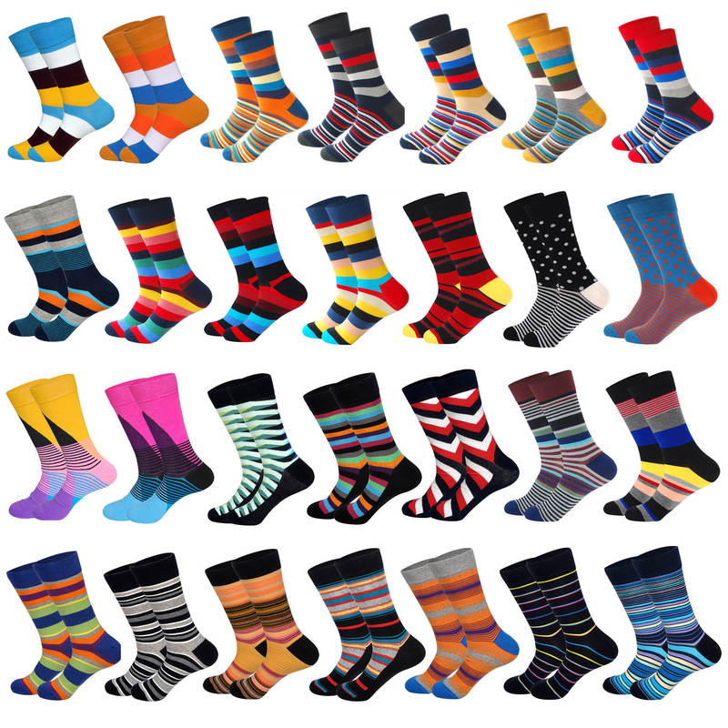 LIONZONE Men Colorful Cotton Socks Winter Trend Striped Diamond Mens Dress Socks Men's Gifts Christmas Novelty