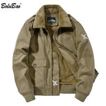 BOLUBAO สไตล์ทหารแจ็คเก็ตฤดูหนาวยี่ห้อ Plus กำมะหยี่หนาเสื้อแจ็คเก็ตผู้ชายใหม่ชายแฟชั่นสบายเสื้อแจ็คเก็ต