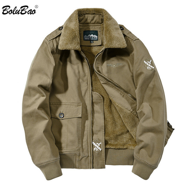 BOLUBAO גברים בסגנון צבאי מעילי חורף מותג בתוספת קטיפה עיבוי גברים של מעיל חדש זכר אופנה נוח מעיל מעילים