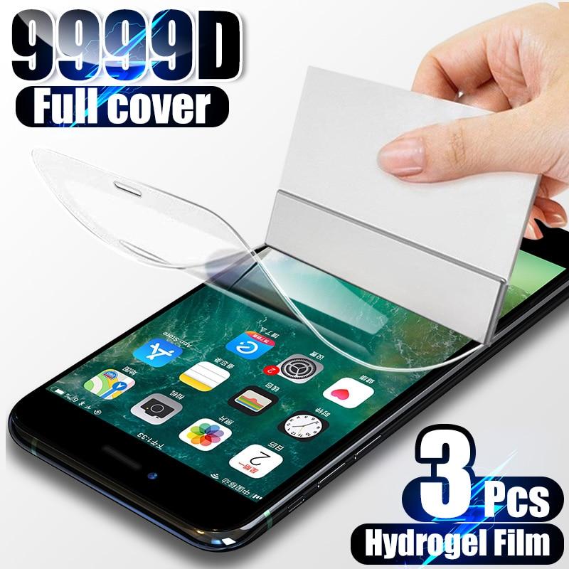 Гидрогелевая пленка с полным покрытием для iPhone 7 8 6 6s Plus 11 12 Pro XS Max, защитная пленка для экрана для iPhone X XR 11 12 SE, не стекло, 3 шт.