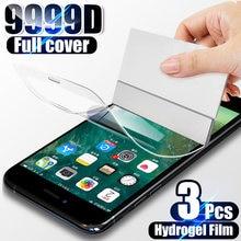 3 pçs capa completa filme de hidrogel para iphone 7 8 6s plus 11 12 pro xs max protetor de tela para iphone x xr 11 12 se não vidro