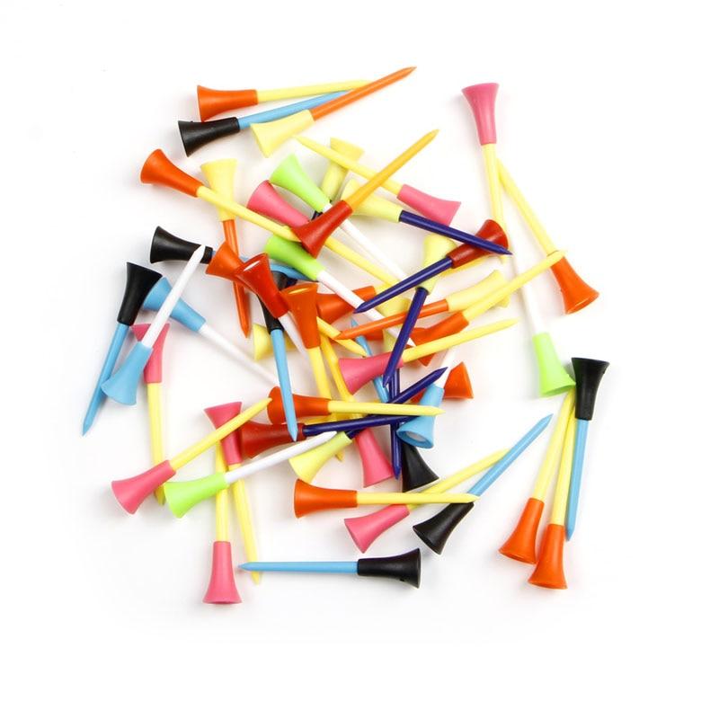 50pcs Golf Tools 72mm Multicolor Plastic Golf Tees Rubber Cushion Professional