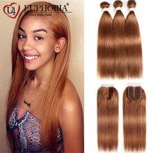 Hair-Bundles Lace Closure Human-Hair EUPHORIA Burg Blonde Straight Brazilian Brown 30