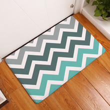 Geometric Print Entrance Doormat Anti Slip Bathroom Kitchen Carpet Flannel Striped Pattern Bedroom Rug Home Decor Hallway Mat striped line doormat