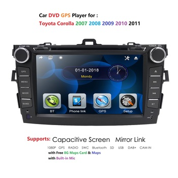 Car Multimedia Player For Toyota COROLLA 2007-2011 2DIN Car DVD Player GPS Stereo Radio Music/AM/FM Radio/SWC/Bluetooth RDS DAB+ image