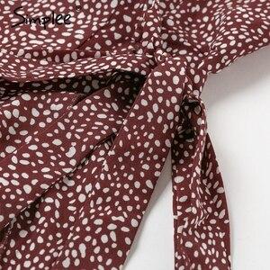 Image 5 - Simplee レースアップヒョウ柄セクシーなロングドレス夏 V ネック半袖ドットプラスサイズドレス女性エレガントスプリットファッションドレス
