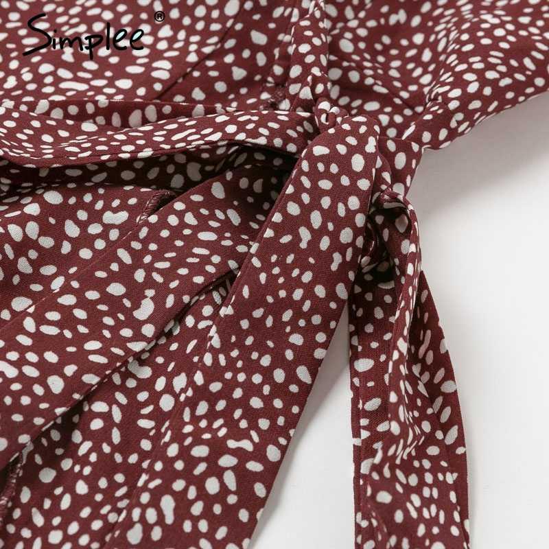 Simplee шнуровка леопардовый принт, сексуальный длинный платье Лето v-образный вырез короткий рукав горошек плюс размер платье женское элегантное Сплит модное платье