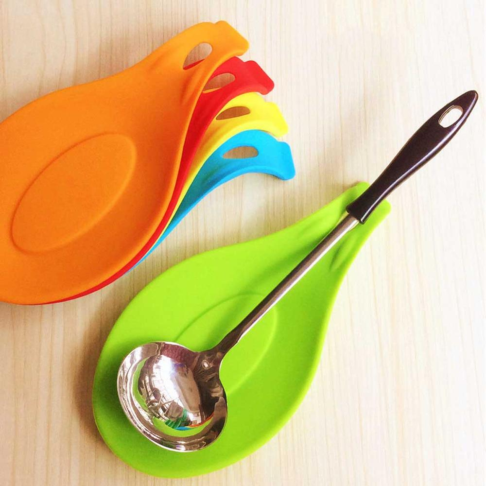 ZKNOC 1pc <font><b>Silicone</b></font> Spoon Rest Heat Resistant Utensil Spatula Holder Tray Placemat Spoon Utensil Rest Cooking <font><b>Tool</b></font> <font><b>Kitchen</b></font> <font><b>Tools</b></font> image