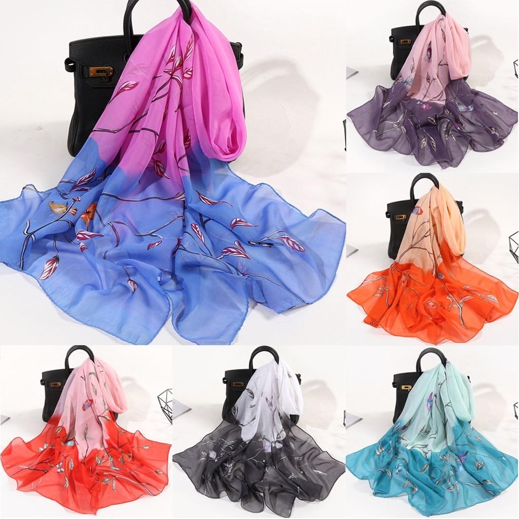 2020 Fashion Head Silk Scarf Women Flower Print Long Soft Wrap Scarf Accesorios Mujer Simulation Silk Shawl Foulard Scarves #C12