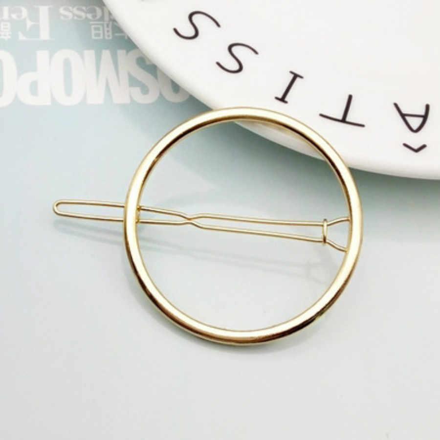 2019 แฟชั่นคลิปผมสำหรับผู้หญิง Elegant Design สามเหลี่ยม Moon Lip รอบ Barrette Hairpin Hairpin ผม Pins อุปกรณ์เสริม #03